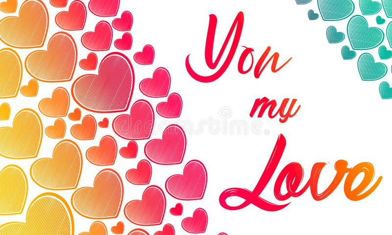 Valentines day illustration. Happy Valentine card with greetings. Lettering logo, calligraphy inscription with many hearts. Templa vector illustration