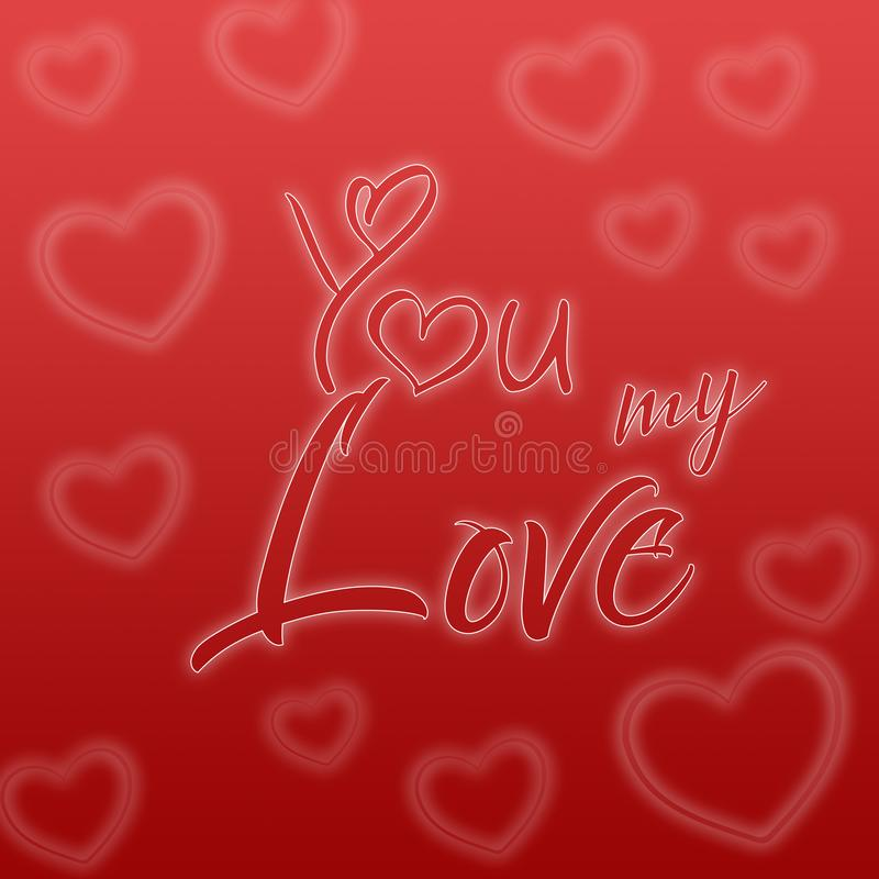 Valentines day illustration. Happy Valentine card with greetings. Lettering logo, calligraphy inscription with many hearts. royalty free illustration