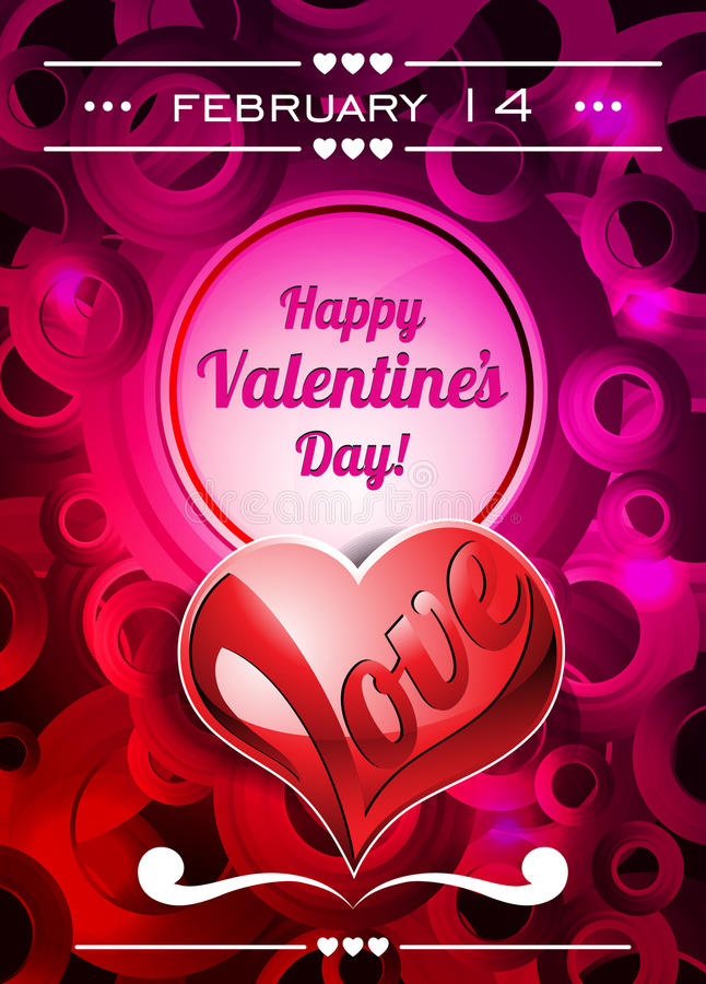 Download Valentines Day Illustration With Text Space And Love Heart Stock Vector - Image: 28932284