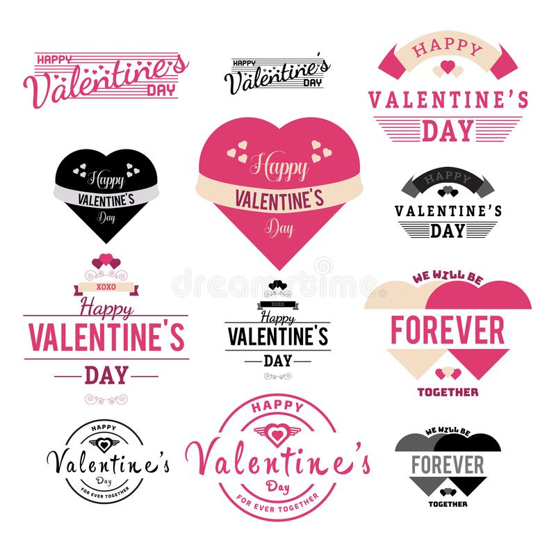 Valentines Day Label and Ribbon Collection illustration - Vector. You can edit it any editing softwaren stock illustration