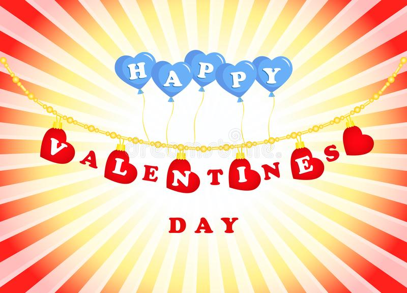 Valentines day, garland and balloons hearts royalty free illustration