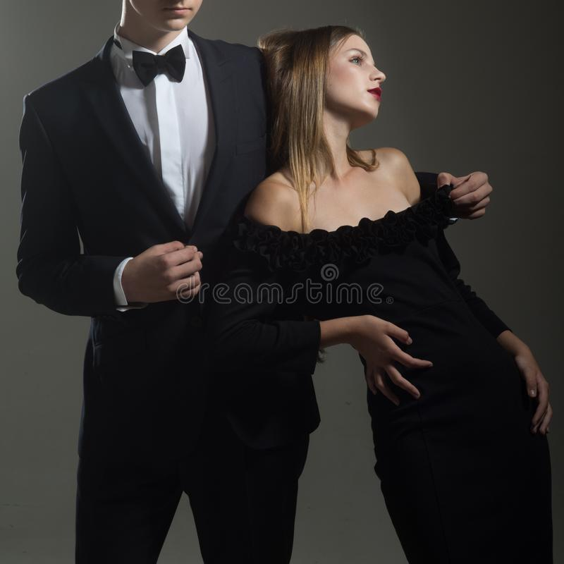 Valentines day. Love. Cute man and woman are dating. Loving couple together at business meeting. Elegant couple in love stock photos