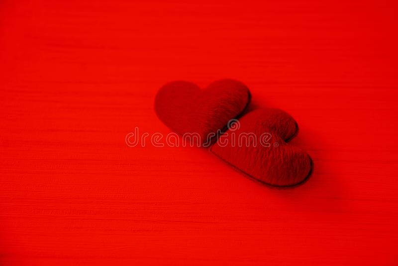Valentines day love heart romantic concept Couple red heart decorated on red background. Valentines day love heart romantic concept / Couple red heart decorated royalty free stock images