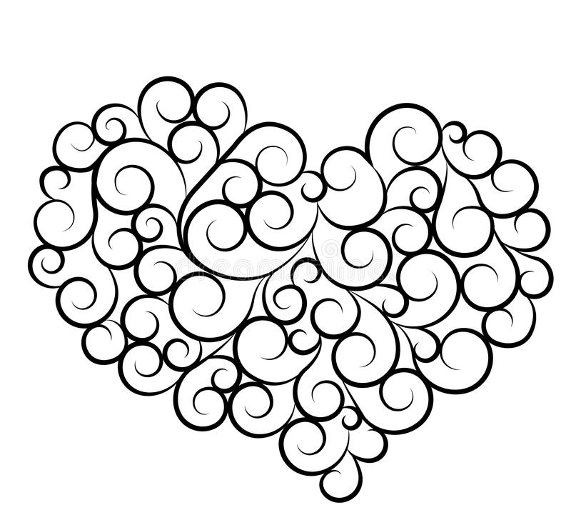 Valentines day & love symbol. Silhouette of heart vector illustration