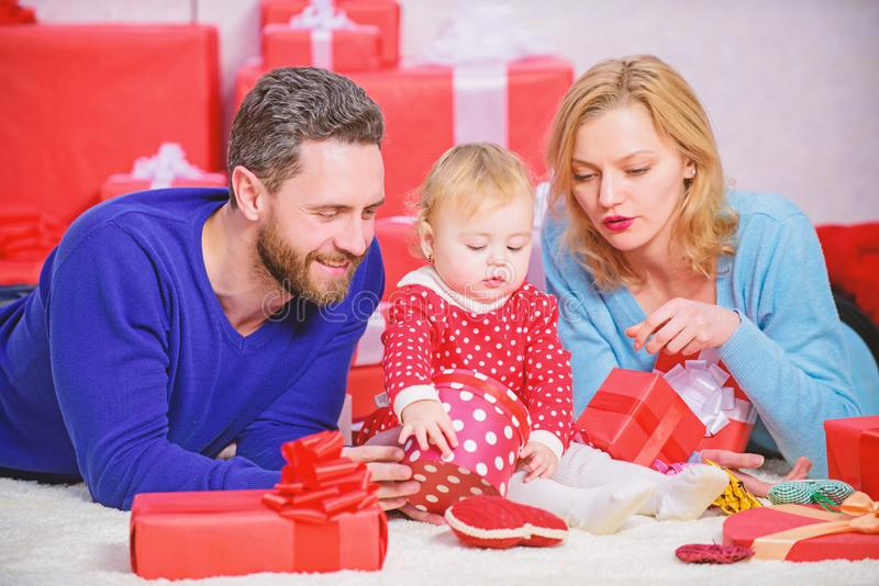 Valentines day. Lovely family celebrate valentines day. Happy parents. Couple in love and baby are happy family royalty free stock photos