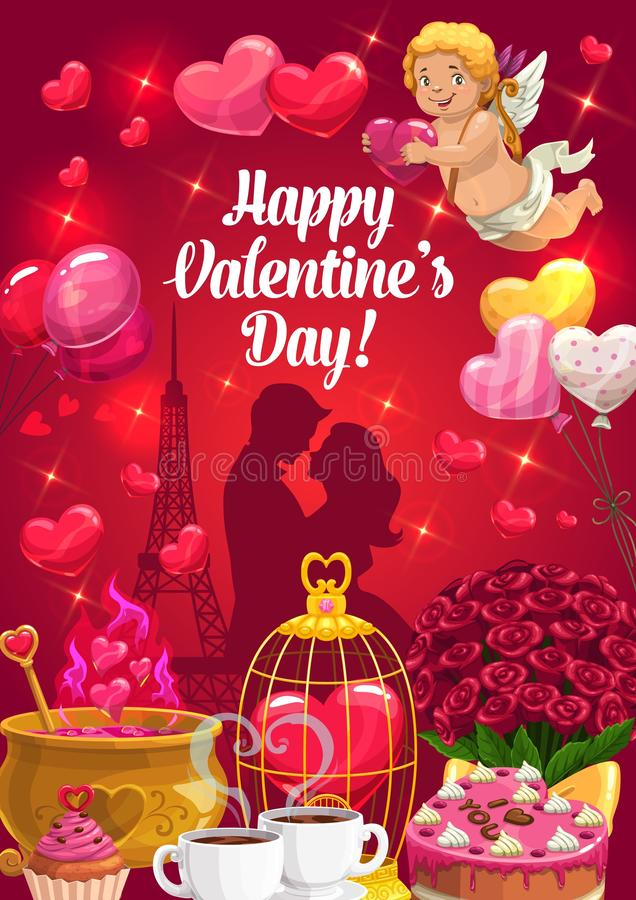 Couple with hearts and Cupid, Valentines Day. Valentines Day loving couple with romantic love gifts, vector greeting card. Cupid with red hearts, bouquets of vector illustration