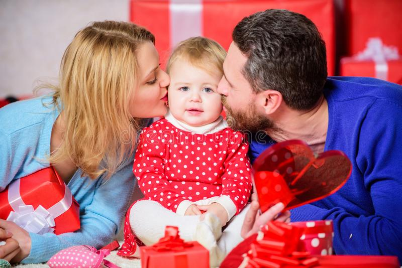 Valentines day. Made to love each other. Happy family with present box. father, mother and doughter child. Shopping. Online. Boxing day. Love and trust in royalty free stock images
