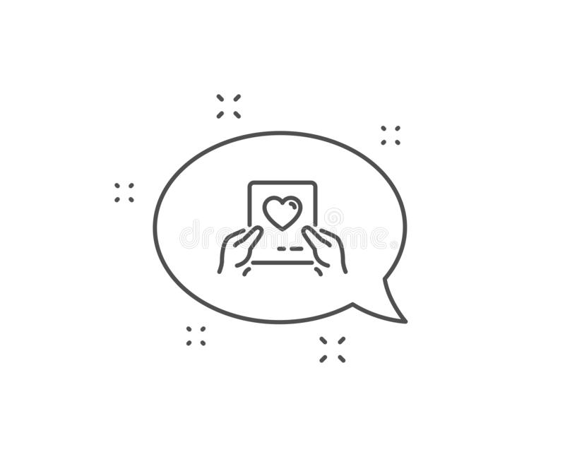 Valentines day mail icon. Love letter symbol. Vector. Valentines day mail line icon. Chat bubble design. Love letter symbol. Heart sign. Outline concept. Thin stock illustration