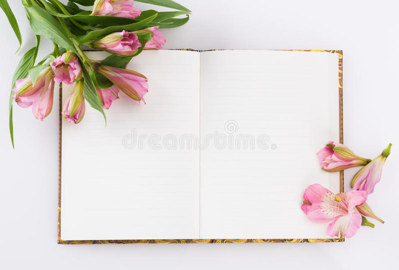 Valentines day, Mothers day composition. Love diary and fresh spring flowers. stock image
