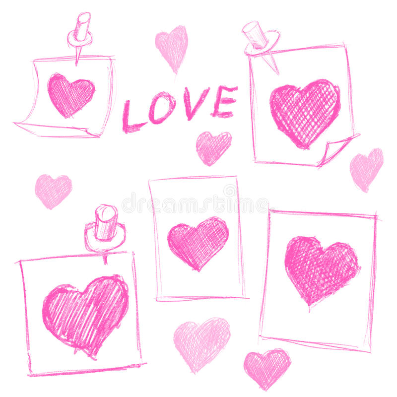 Valentines Day notes with scribbled hearts. Set of Valentines Day notes with scribbled hearts vector illustration