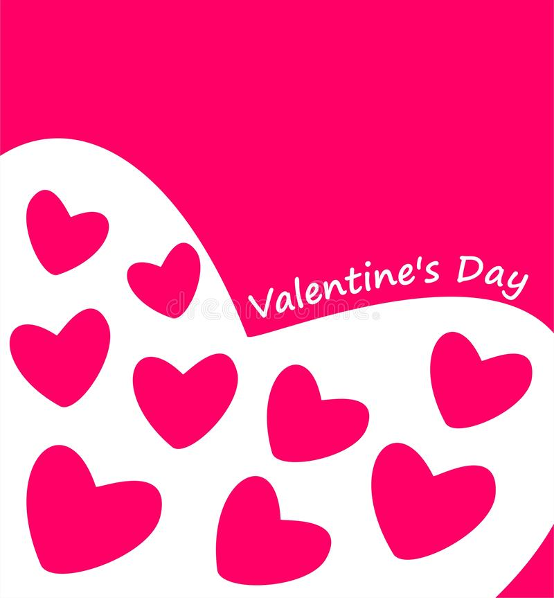 Valentines Day one-color greeting with plain bright pink hearts stock photography