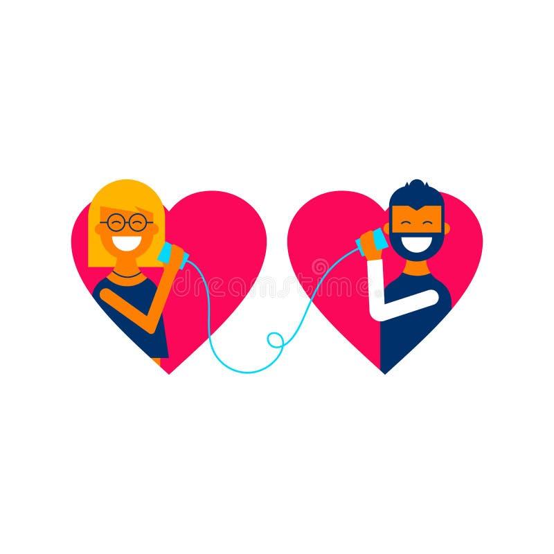Valentine day couple talking online concept design royalty free illustration
