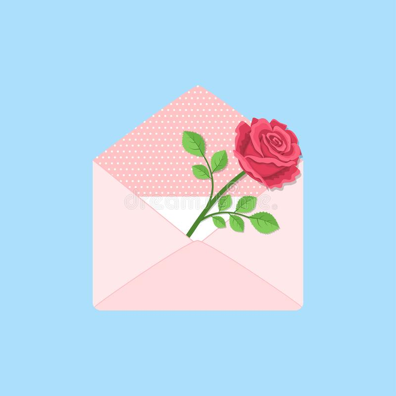 Valentines day. Open envelope with card and rose stock images
