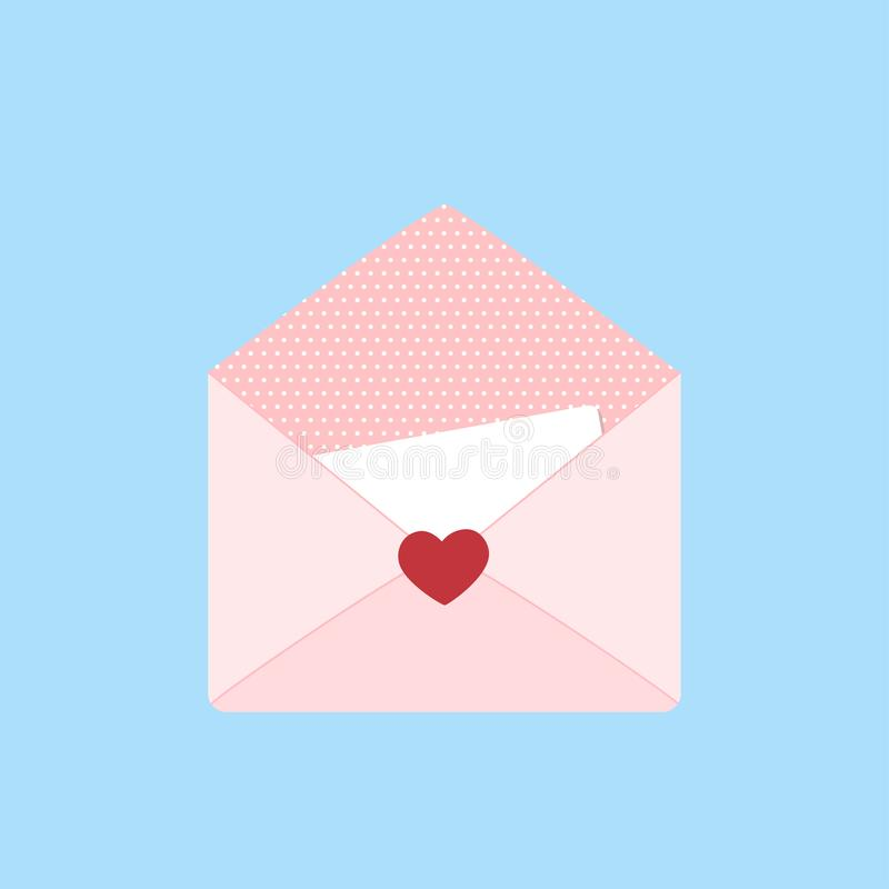 Valentines day. Open romantic envelope with card on blue background royalty free stock photo