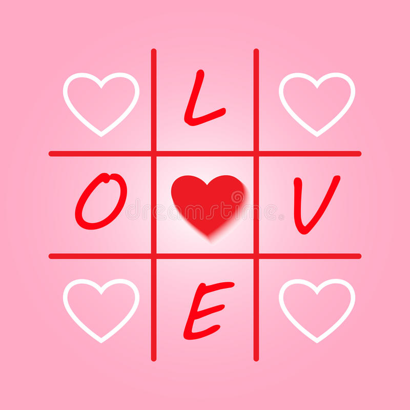 Valentines day original card with tic-tac-toe design. Vector illustration for card. royalty free illustration