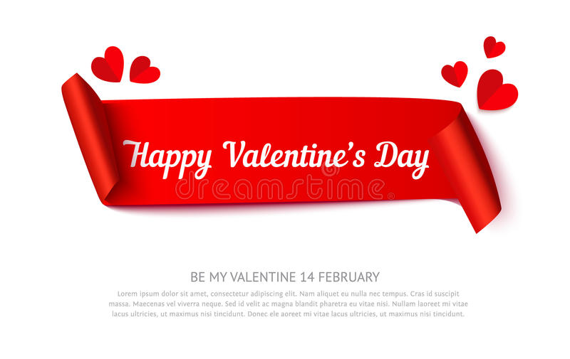 Valentines day paper curl ribbon. Banner, realistic vector illustration with paper cut hearts isolated on white background. Template for greeting card, sale and royalty free illustration