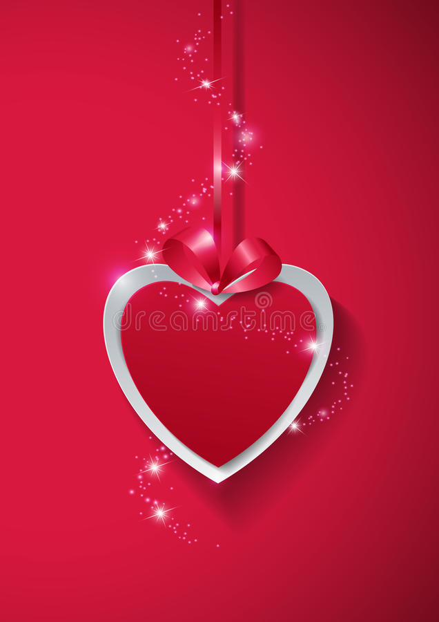download valentines day paper heart with lights on pink background stock vector image