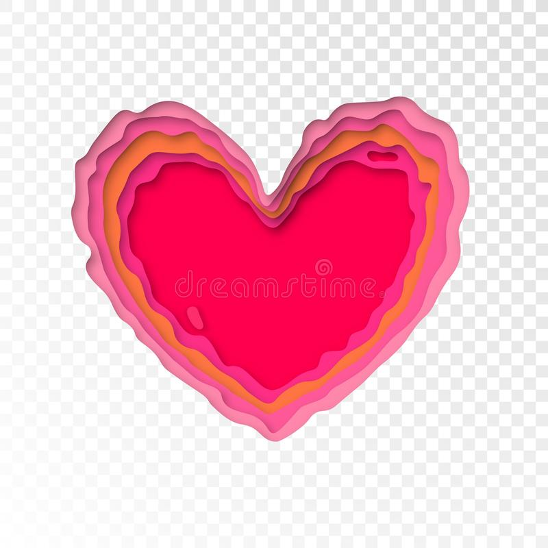 Valentines Day papercut heart for Valentine holiday or wedding greeting card design template. Vector isolated red pink modern pape stock illustration