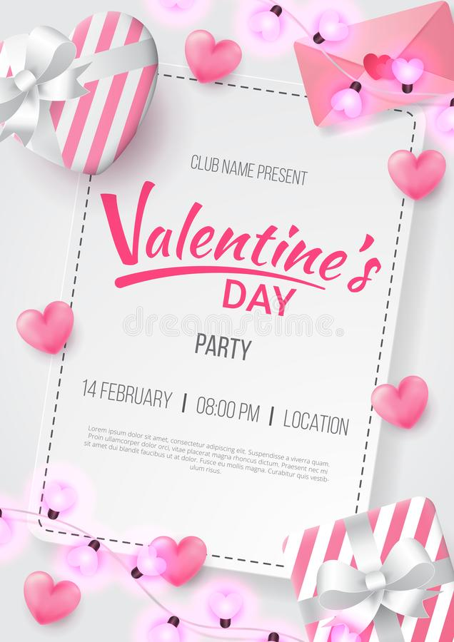 Valentines day party background with Heart Shaped, love letter, gift and love shaped lamp. royalty free illustration