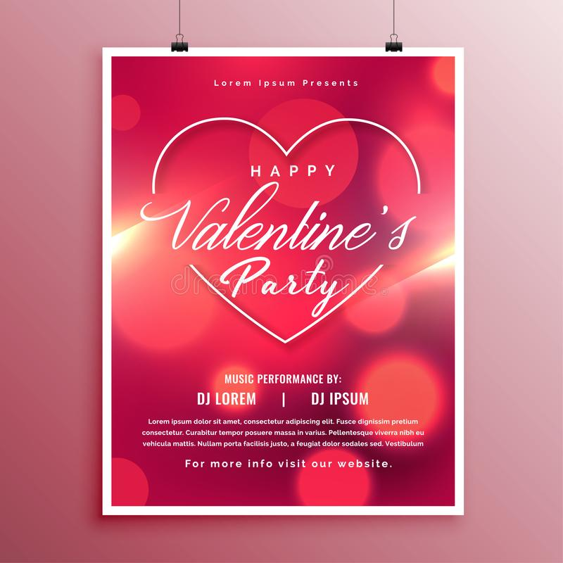 Valentines day party event flyer template design. Vector royalty free illustration