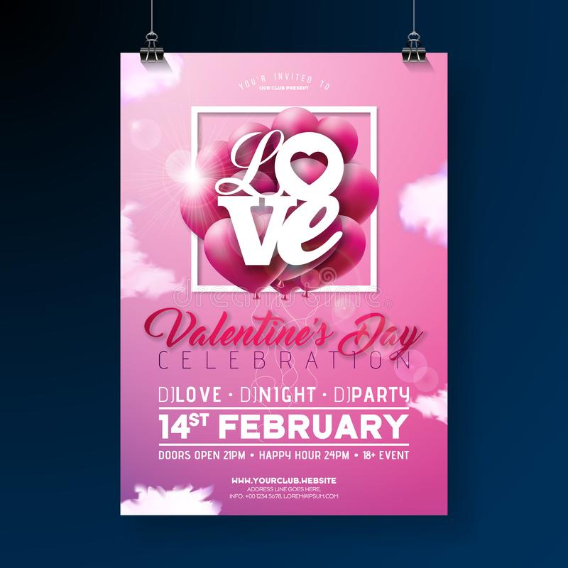 download valentines day party flyer design with love typography letter and heart balloon on cloud sky