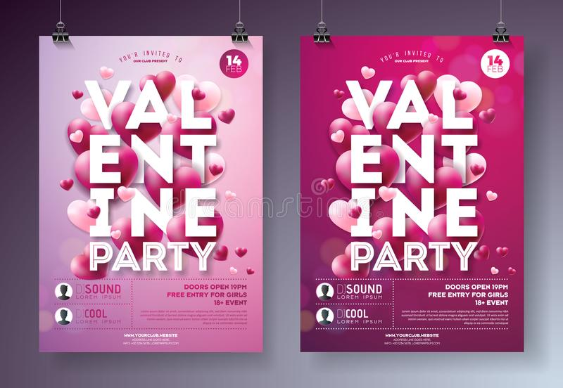 Valentines Day Party Flyer Illustration with Red Heart and Typography Design on Clean Background. Vector Holiday. Celebration Poster Template for Invitation or stock illustration