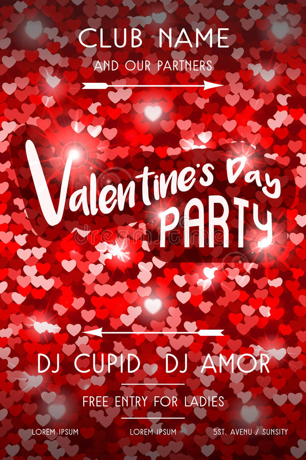 Valentines Day Party Flyer stock vector. Illustration of arrows ...