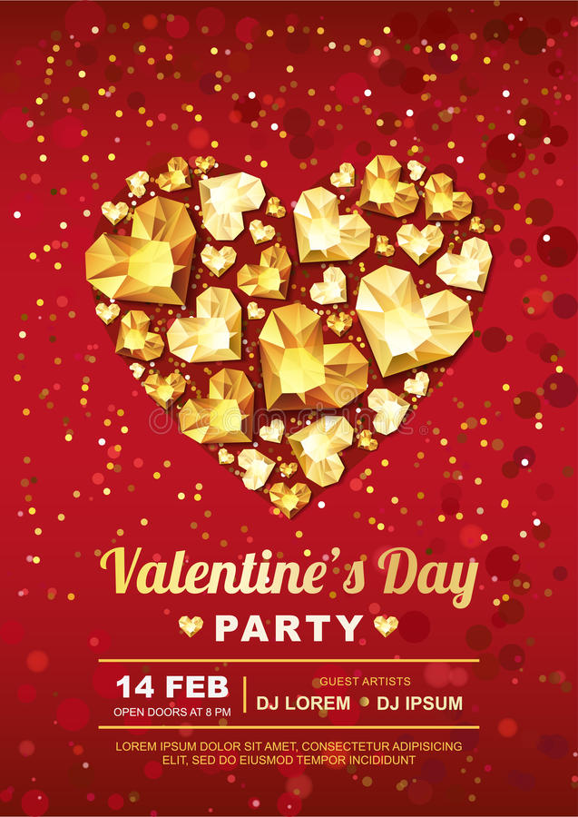 Valentines day party poster design template. Gold gem heart on red background. royalty free illustration