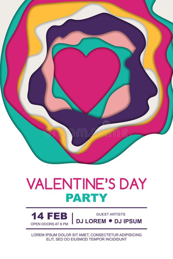 Valentines day party poster design template. Heart and 3D abstract paper cut shapes on white background. stock illustration