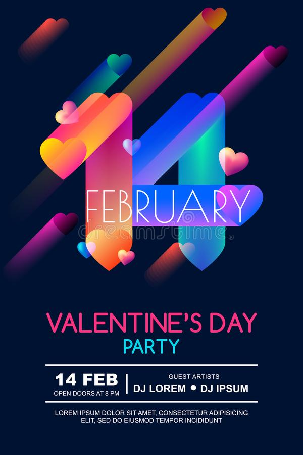 Valentines day party poster template. Colorful gradient 3d date February 14 and hearts on black background. stock illustration