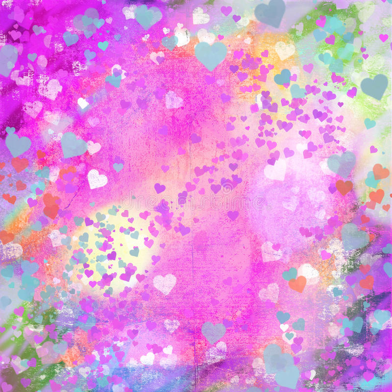 Valentines Day pastel grunge hearts abstract backg stock illustration