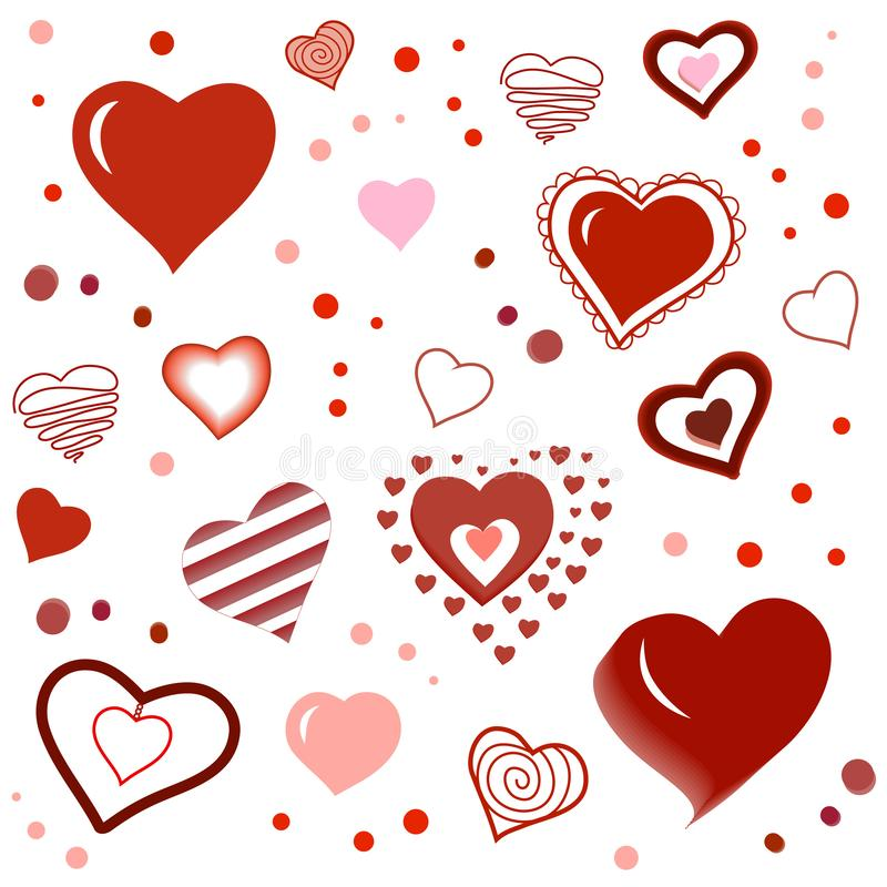 Valentines Day Pattern with Repeating Hand Drawn Passion Hearts vector illustration