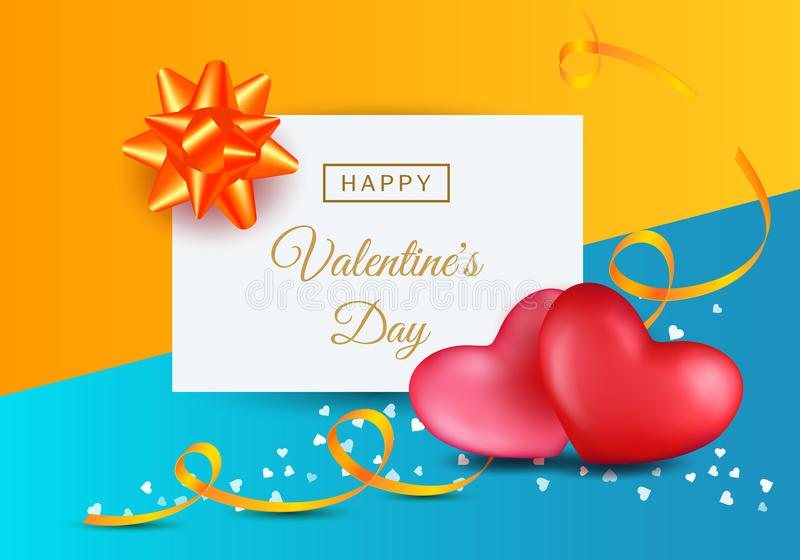 Valentines day pictures with two hearts, ribbons and bows on colorful background. stock illustration