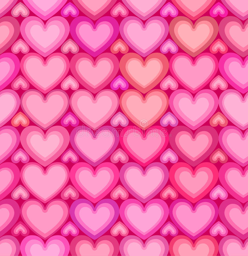 Valentines day pink hearts seamless pattern stock illustration