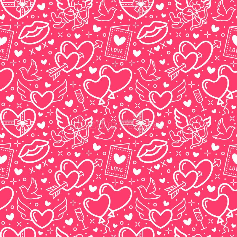 Valentines day pink seamless pattern. Love, romance flat line icons - hearts, chocolate, kiss, Cupid, doves, valentine vector illustration