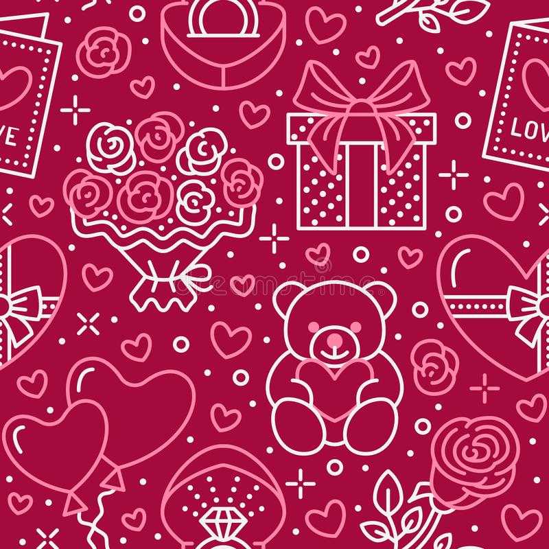 Valentines day pink seamless pattern. Love, romance flat line icons - hearts, chocolate, teddy bear, engagement ring stock illustration