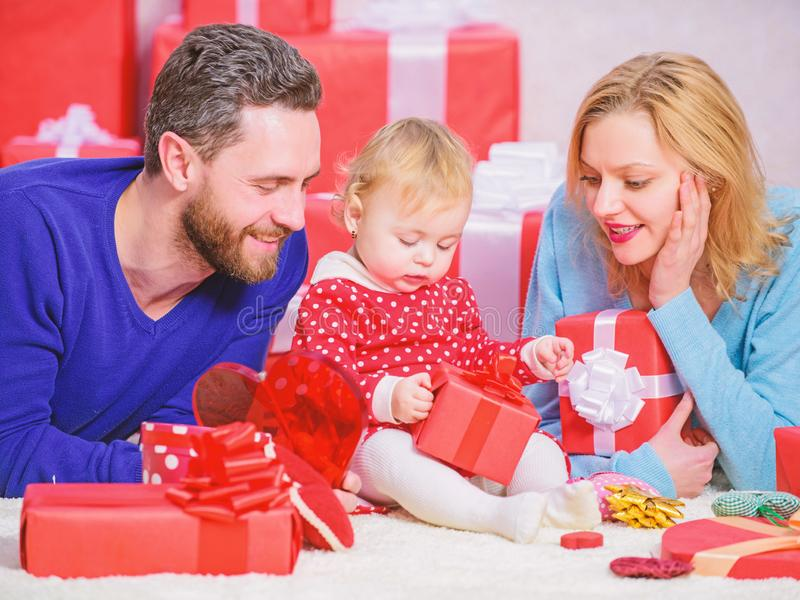 Valentines day. Red boxes. Happy family with present box. father, mother and doughter child. All my love is for you. Boxing day. Love and trust in family royalty free stock image