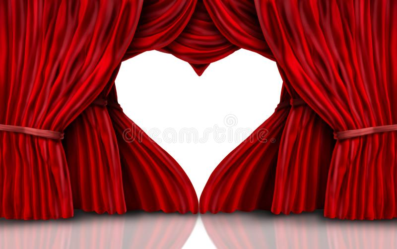 Valentines Day Red Curtains On White vector illustration