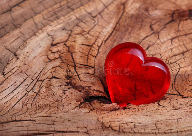 Valentines Day. Red Heart on Wooden background. stock photos