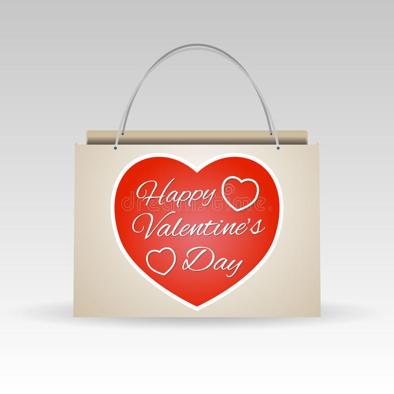 Valentines day red paper shopping bag vector illustration