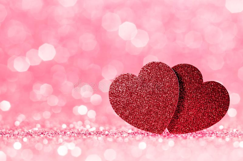 Valentines day red Red heart with pink bokeh light background.Pink rose sparkling glittering light color elegance,smooth backdrop, stock photography