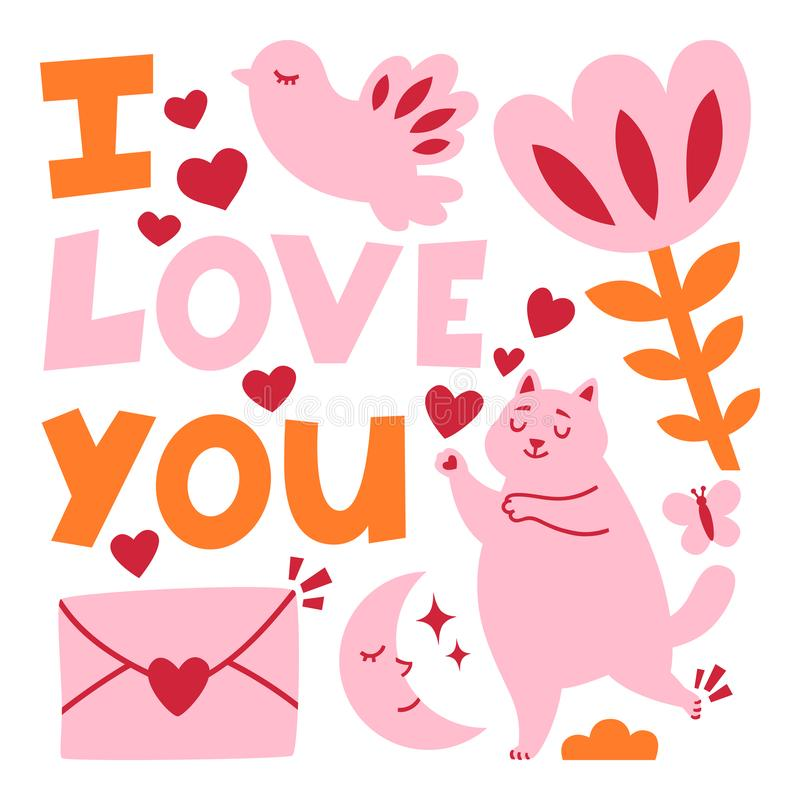 Valentines day romance greeting card with cat stock illustration