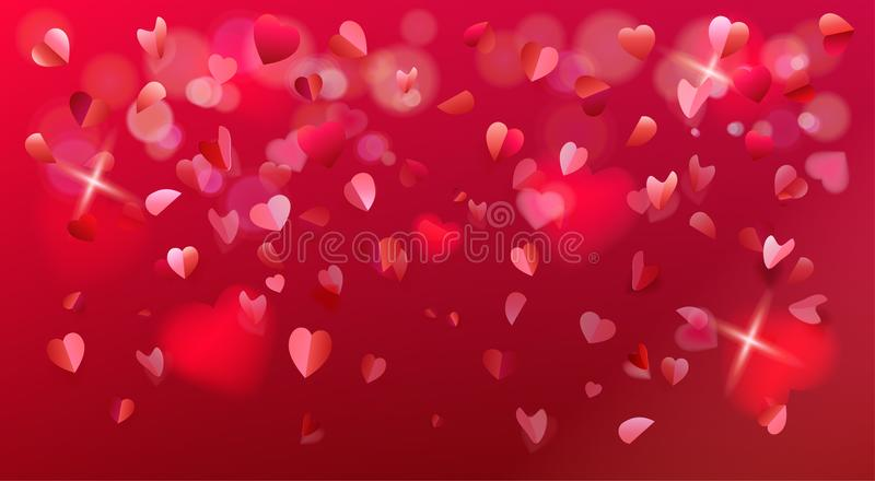 Valentines Day romance flying hearts rose petals confetti sign royalty free illustration
