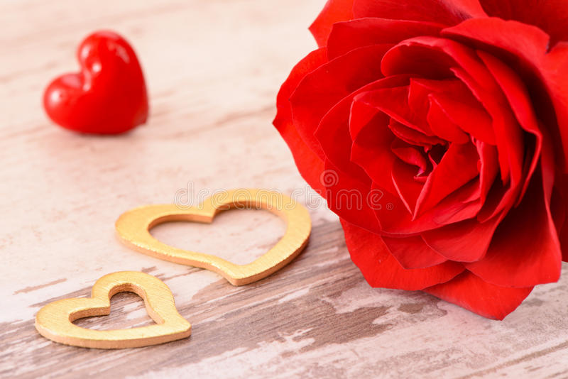 Valentines day in romance with rose and heart. Valentines day in romance with red rose and golden hearts stock photography