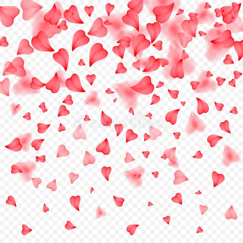 Valentines Day romantic background of red hearts petals falling. Realistic flower petal in shape of heart confetti. Love royalty free illustration