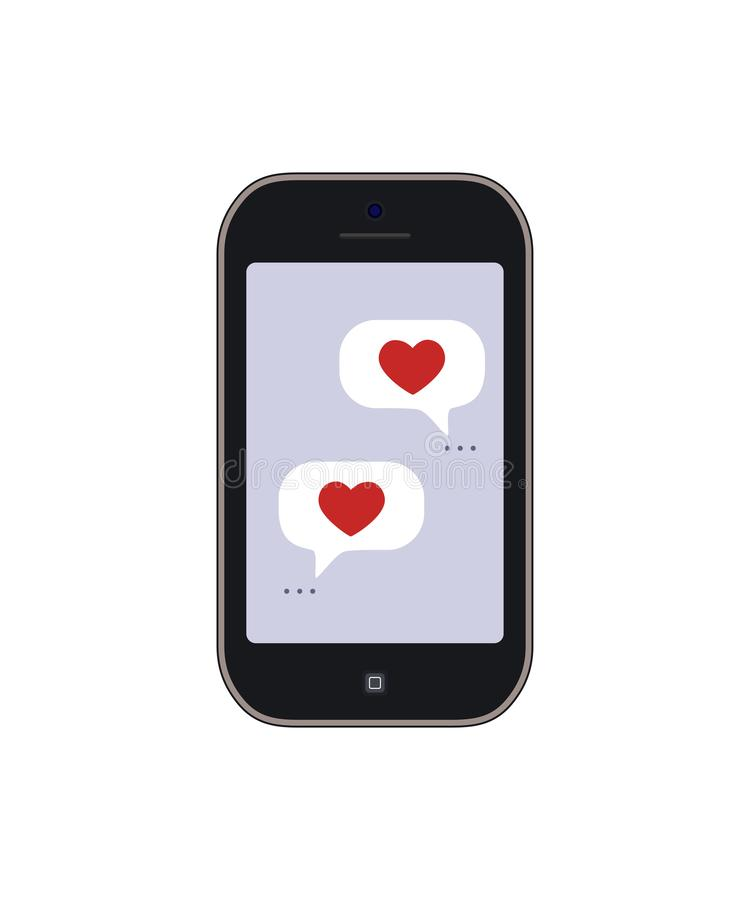 Valentines Day. Romantic message on mobile phone royalty free stock image
