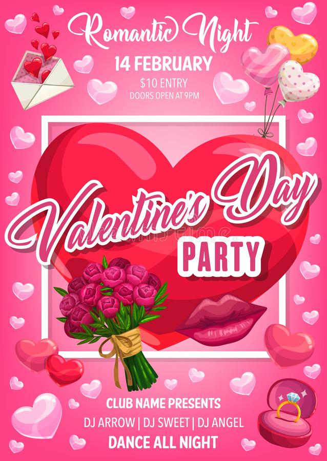 Valentine Day hearts, flower, ring and love letter. Valentines Day romantic night party vector invitation with red hearts, flowers bouquet and balloons, wedding vector illustration