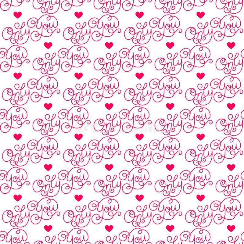 Valentines day. Romantic phrases seamless pattern background. Template for a business card, banner, poster, notebook. Invitation with a modern lettering stock illustration