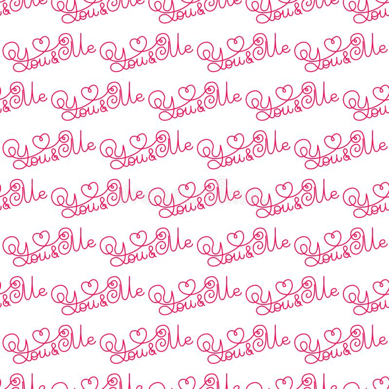 Valentines day. Romantic phrases seamless pattern background. Template for a business card, banner, poster, notebook. Invitation with a modern lettering vector illustration