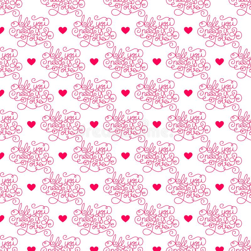 Valentines day. Romantic phrases seamless pattern background. Template for a business card, banner, poster, notebook. Invitation with a modern lettering royalty free illustration